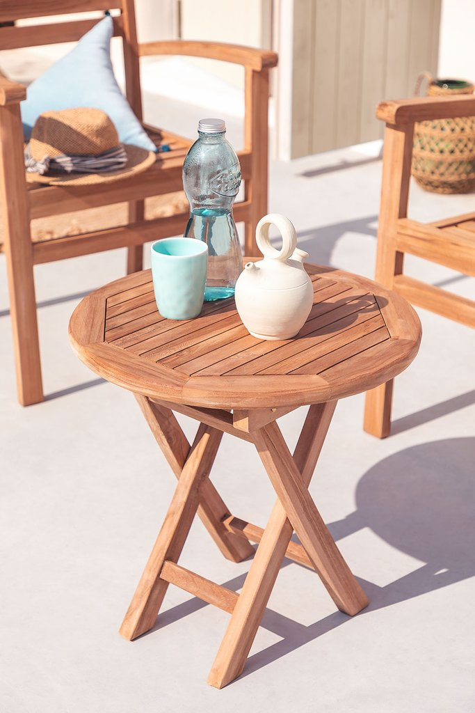 Folding Garden Side Table in Teak Wood (Ø50 cm) Pira, gallery image 1
