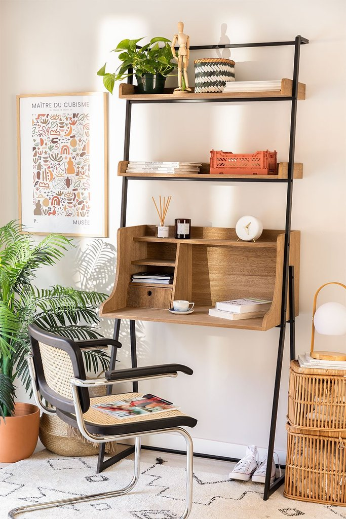Desk with Shelves in MDF and Metal Valar, gallery image 1