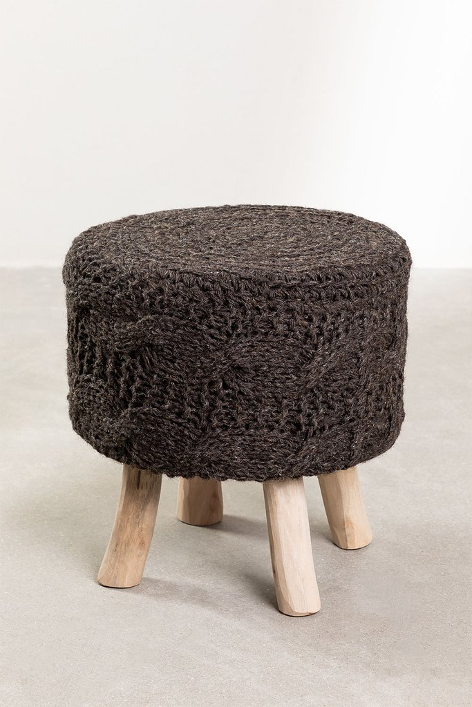 Low Round Wool  & Wooden Stool Rixar, gallery image 1
