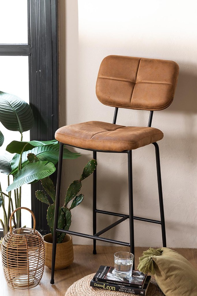 High Stool with Back in Leatherette Ospi, gallery image 1