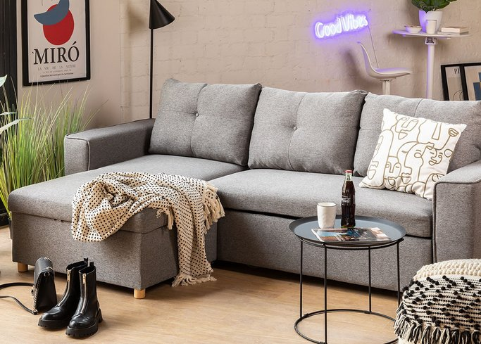 3 Seater Fabric Sofa Bed- Chaise Longue Calvin, gallery image 1