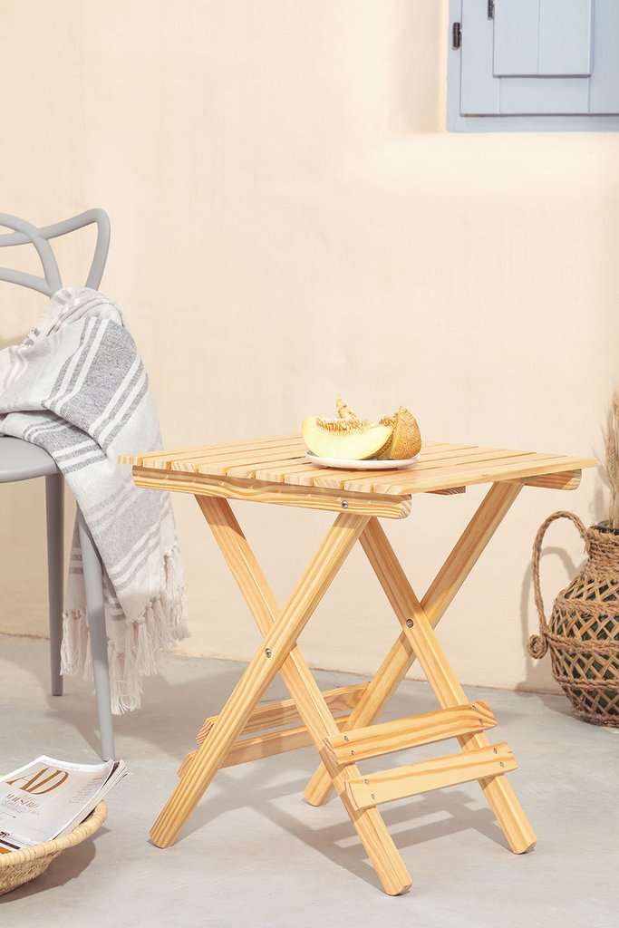 Square Foldable Wooden Side Table Bhêl, gallery image 1